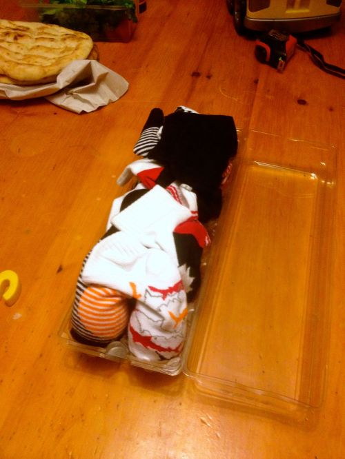 My mom brought that batch of eggs from NY, actually; she wrapped them in socks that my cousin got for Kaya.